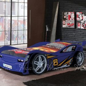 Night Racer Blue Wooden Racing Car Bed
