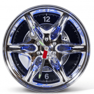 Neon Car Wheel Wall Clock