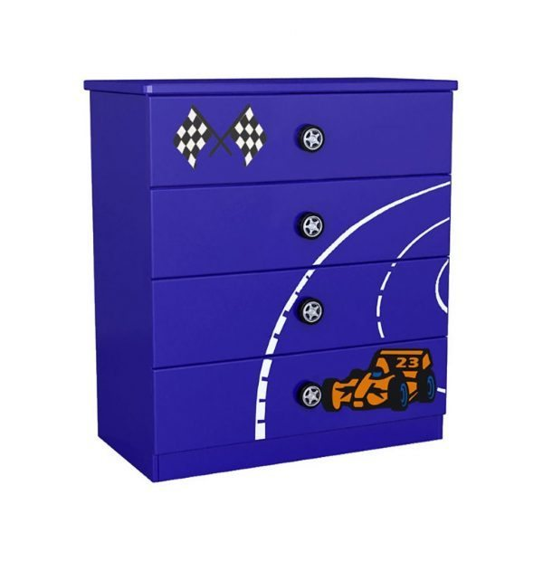 Blue Racing Car Chest of Drawers